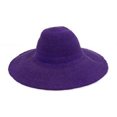 Woven Purple Raffia Sun Hat