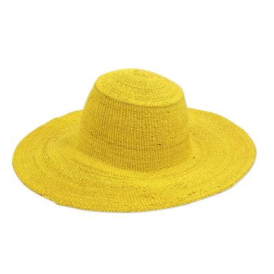 Yellow Raffia Wide Brim Sun Hat