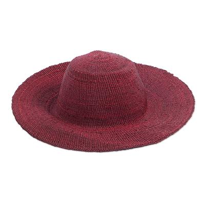 Woven Raffia Sun Hat in Red