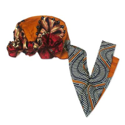 Blue and Orange Patterned Cotton Head Wrap