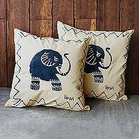 Hand-painted cotton cushion covers, 'Trumpeting' (pair)