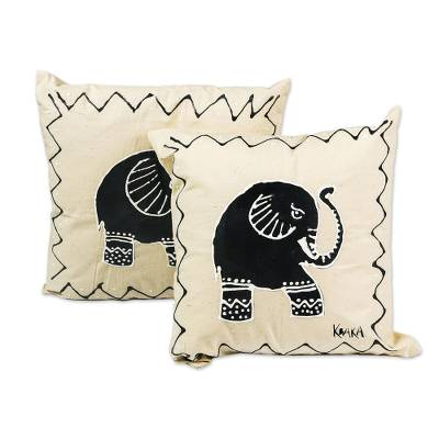 Hand-painted cotton cushion covers, 'Trumpeting' (pair) - Elephant-Themed Cotton Cushion Covers (Pair)
