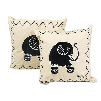 Elephant-Themed Cotton Cushion Covers (Pair)