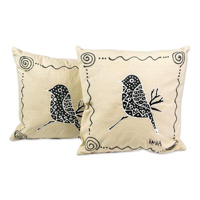 Bird-Themed Cotton Cushion Covers (Pair)