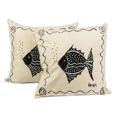 Fish-Themed Cotton Cushion Covers (Pair)