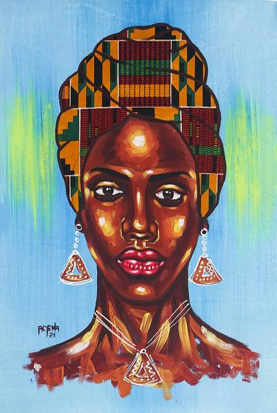 Acrylic African Woman Painting on Canvas