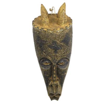 Artisan Crafted Sese Wood Mask from Ghana