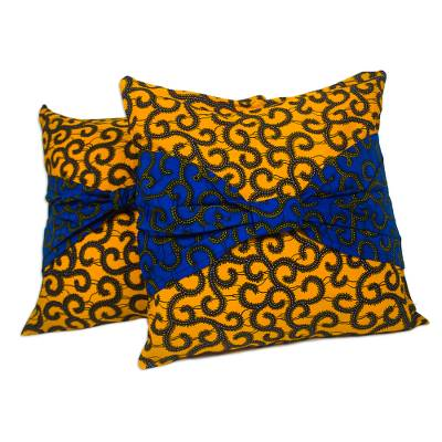 Blue and Yellow Cotton Cushion Covers (Pair)