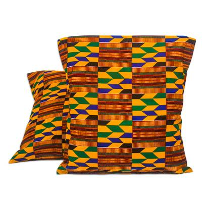 Cotton Kente Cloth Cushion Covers from Ghana (Pair)