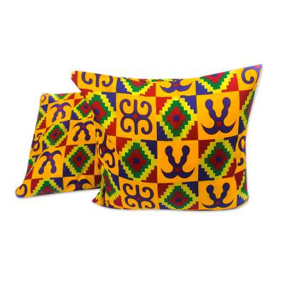 Adinkra-Themed Cotton Cushion Covers from Ghana (Pair)