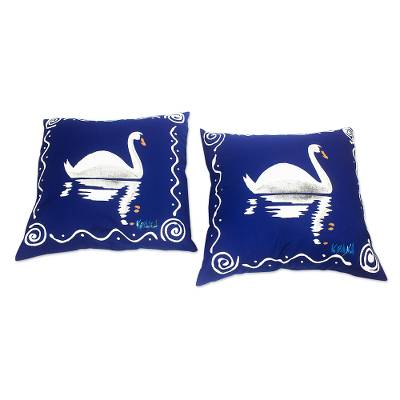 Blue and White Cotton Swan-Motif Cushion Covers (Pair)