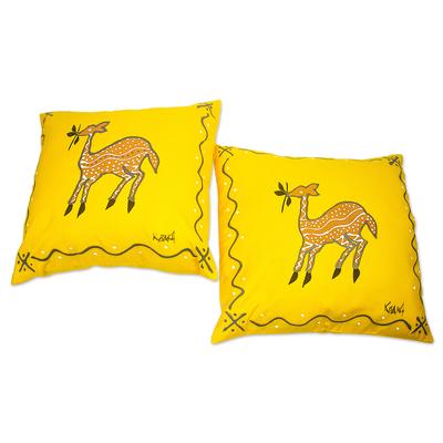 Artisan Crafted Antelope-Motif Cotton Cushion Covers (Pair)