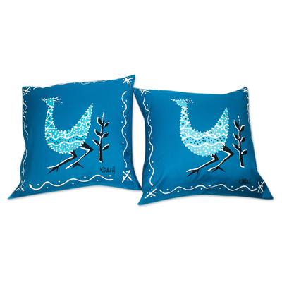 Blue Cotton Bird-Motif Cushion Covers (Pair)