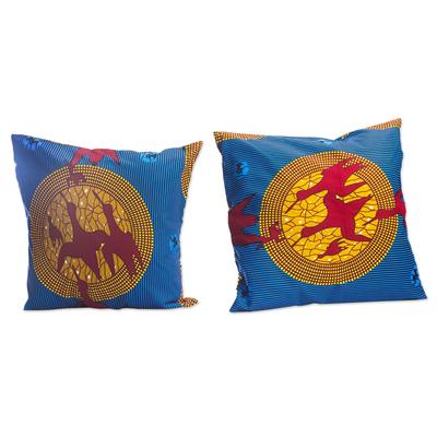 Bird-Motif Cotton Cushion Covers (Pair)