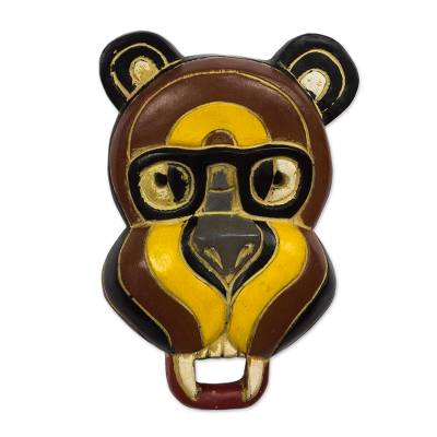 Handmade Bear-Motif Sese Wood Mask