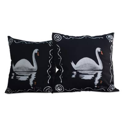 Black Cotton Swan-Motif Cushion Covers (Pair)