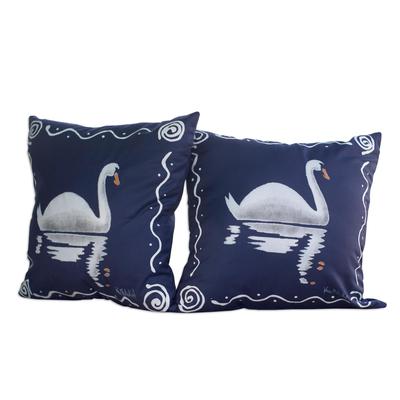 Blue Cotton Swan-Motif Cushion Covers (Pair)