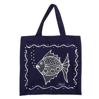 Dark Blue Cotton Fish-Motif Tote Bag