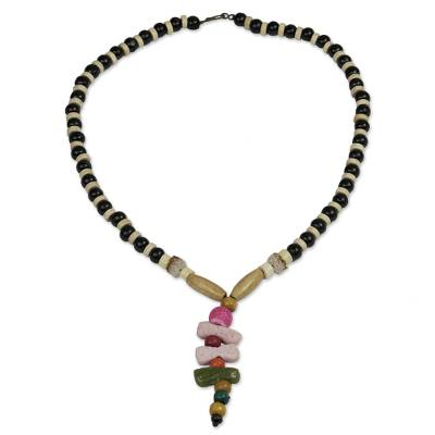 Eco-Friendly Agate and Wood Beaded Necklace