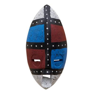 Blue and Red Sese Wood Wall Mask from Ghana