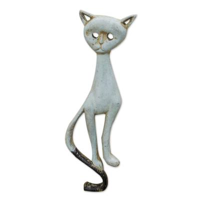 Artisan Crafted Sese Wood Cat Relief Panel