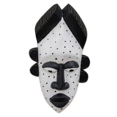 Black and White Sese Wood Mask from Ghana