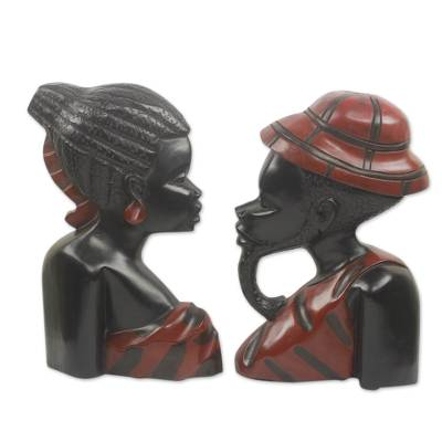Wood wall adornments, 'African Heads' (pair) - Wood wall adornments (Pair)