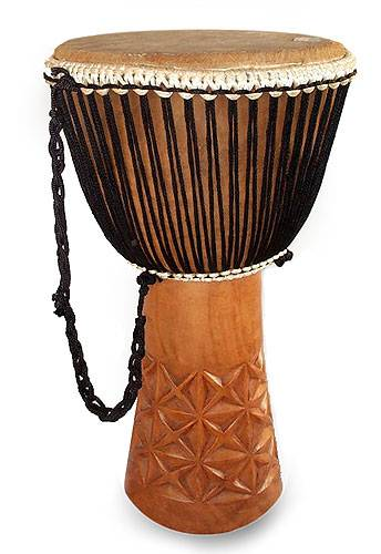 Wood djembe drum, 'Lattice Accent' - Wood djembe drum
