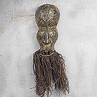 African wood mask, 'Obo-adaka Healer' - Handcrafted African Horror Mask