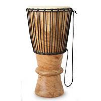 Wood bougarabou drum, 'Collar' - Wood bougarabou drum