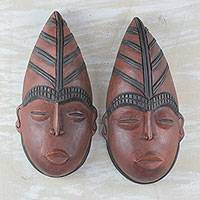 Ghanaian wood masks, 'Gonja Couple' (pair) - Handcrafted African Wood Masks (Pair)