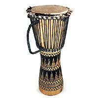 Wood djembe drum, 'La Paix' - Wood djembe drum