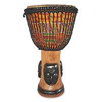 Wood djembe drum, 'Masks' - Wood djembe drum