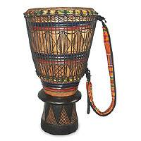 Wood bougarabou drum, 'Movements' - Wood bougarabou drum