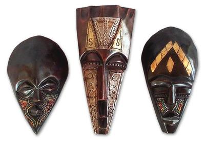 african wood masks set of 3 the ancient men novica