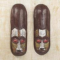 Ivoirian wood masks, 'Baoule Asafo' (pair)
