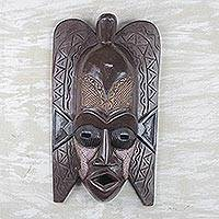 Akan wood mask, 'Distinguished Ancestor' - Hand Crafted Wood Mask