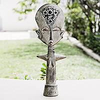 Wood fertility dolls, 'Queen Mother' (pair) - Handmade Fertility Doll Sculptures (Pair)