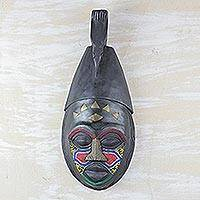 Ivoirian wood mask, 'Ancient Baule Warrior' - Ivoirian wood mask