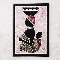 Cotton batik wall art, 'Milk Seller from the North I' - Framed African Batik Collage