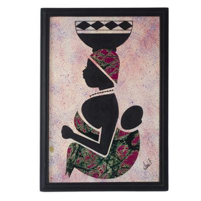 Cotton batik wall art, 'Milk Seller from the North I' - Framed African Batik Collage