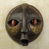 Ghanaian wood mask, 'Bringing Good News' - African Wood Mask