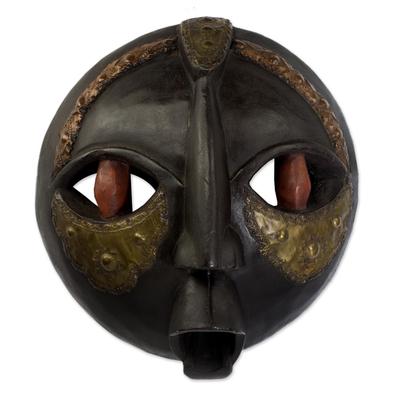 Ghanaian wood mask, 'Bringing Good News' - African Wood Mask
