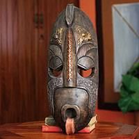 Ivoirian wood mask, 'True Courage' - Ivoirian wood mask