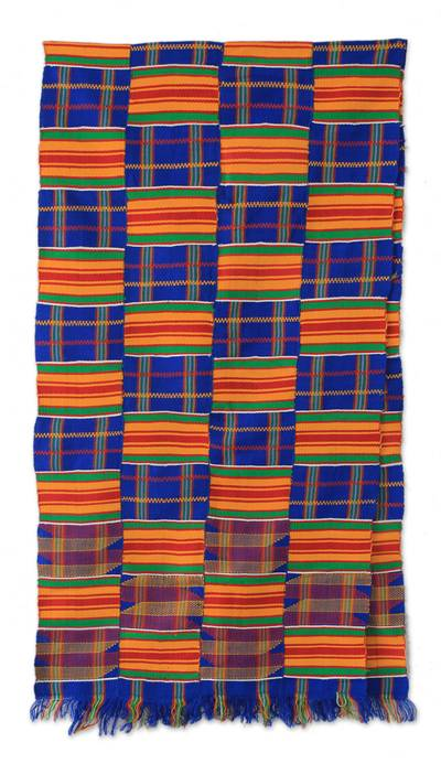 Kente cloth scarf, 'Tribute to Mother' - Kente Scarf from Africa