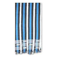 Cotton kente cloth scarf, 'Textured Blue' - Cotton kente cloth scarf