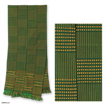 Cotton kente cloth scarf, 'Measure' - Cotton kente cloth scarf