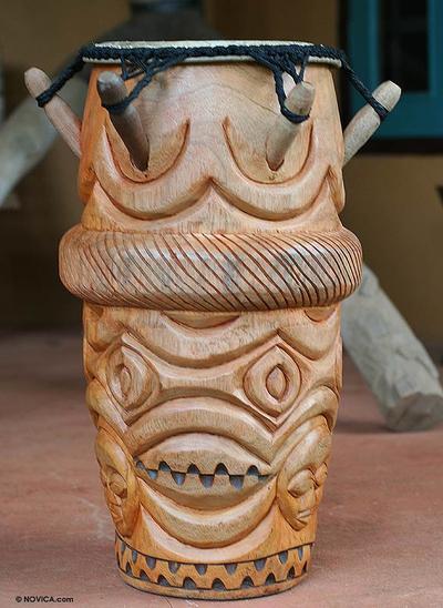 Wood kpanlogo drum, 'Asafo' - African Kpanlogo Djembe Drum
