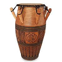 Wood kpanlogo drum, 'Nanakasa' - Tweneboa Wood Kpanlogo Drum