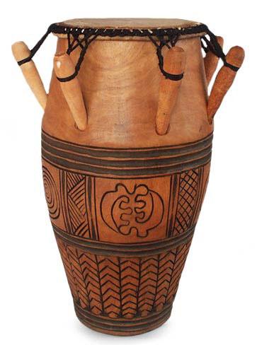 Wood kpanlogo drum, 'Nanakasa' - Tweneboa Wood Kpanlogo Drum